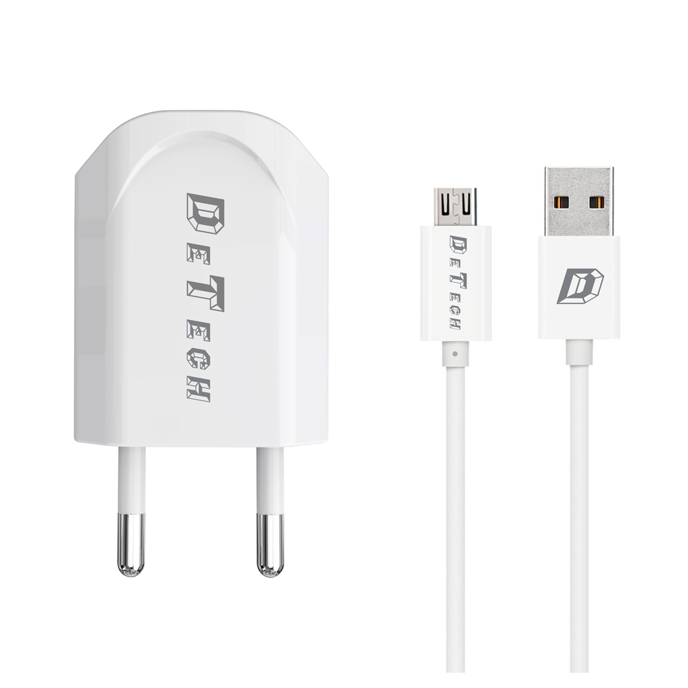 DeTech, DE-11M,Network charger, 5V/1A 220A,Universal,1 x USB, Micro USB cable,1.0m,White- 14115
