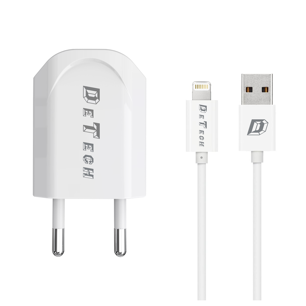 DeTech,DE-11iNetwork charger,5V/1A 220A,Universal,1 x USB,With Lightning cable, 1.0m,White- 14116