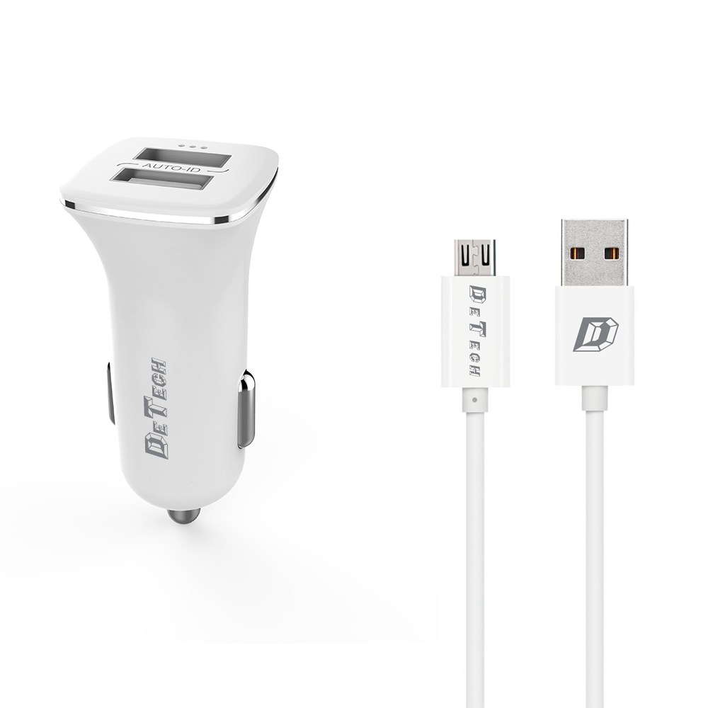 DeTech, DE-C01M,Car socket charger 5V/2.4A, 12/24V, With Micro USB cable, 2 x USB, White - 14124