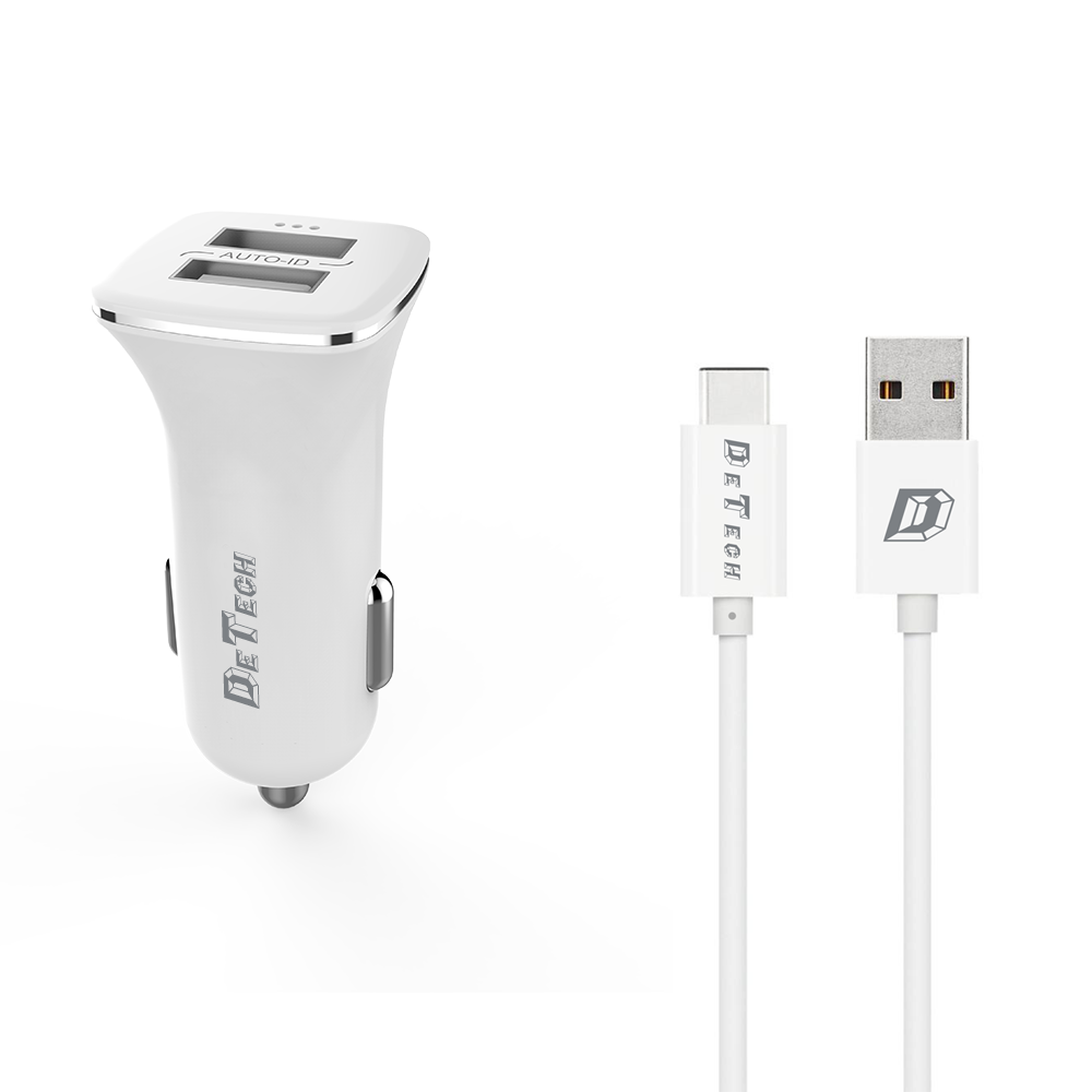 DeTech, DE-C01C,Car socket charger  5V/2.4A, 12/24V, With Type-C cable, 2 x USB, White - 14125