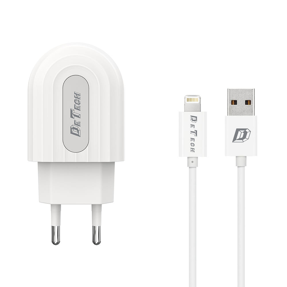 DeTech DE-28i,Network charger 5V/2.4A 220A, Universal, 1 x USB, Lightning cable, 1.0m, White -14134