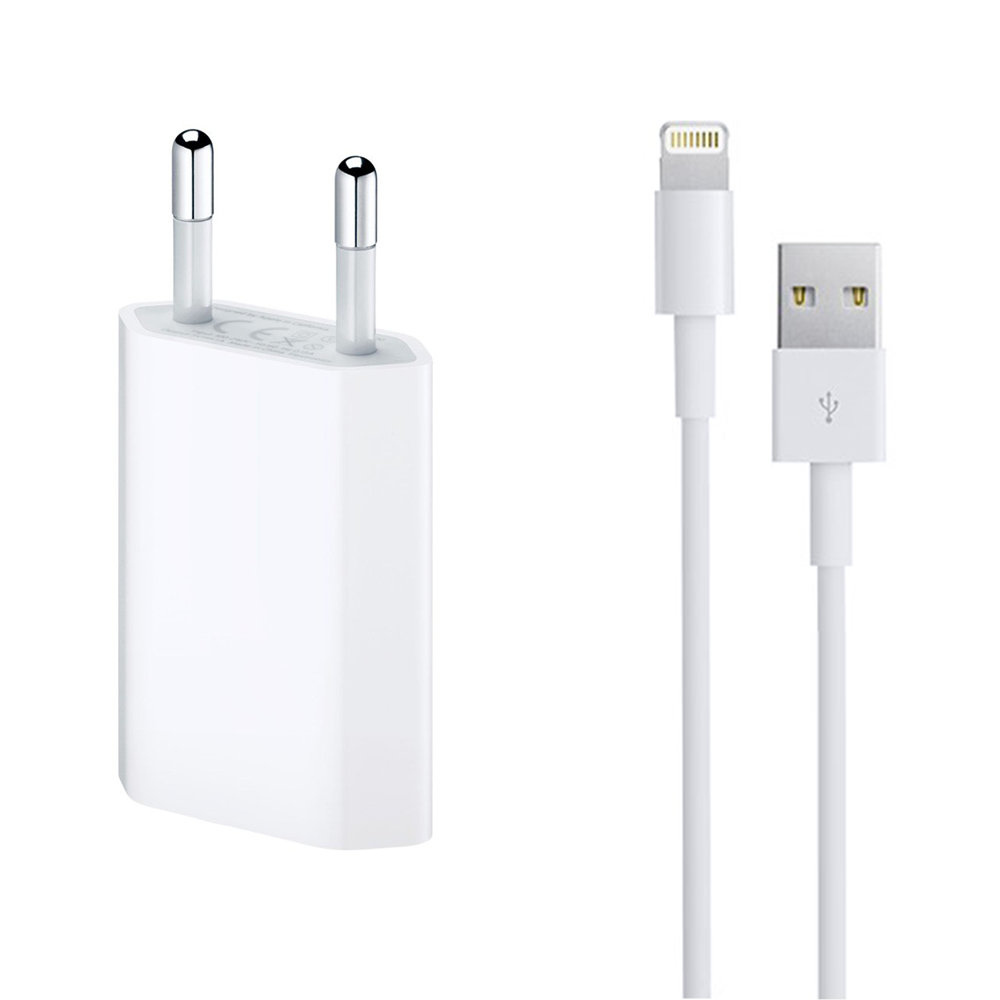 OEM Network charger,5V / 1A 220V, + Cable for iPhone 5/6/7,1.0m, White - 14853