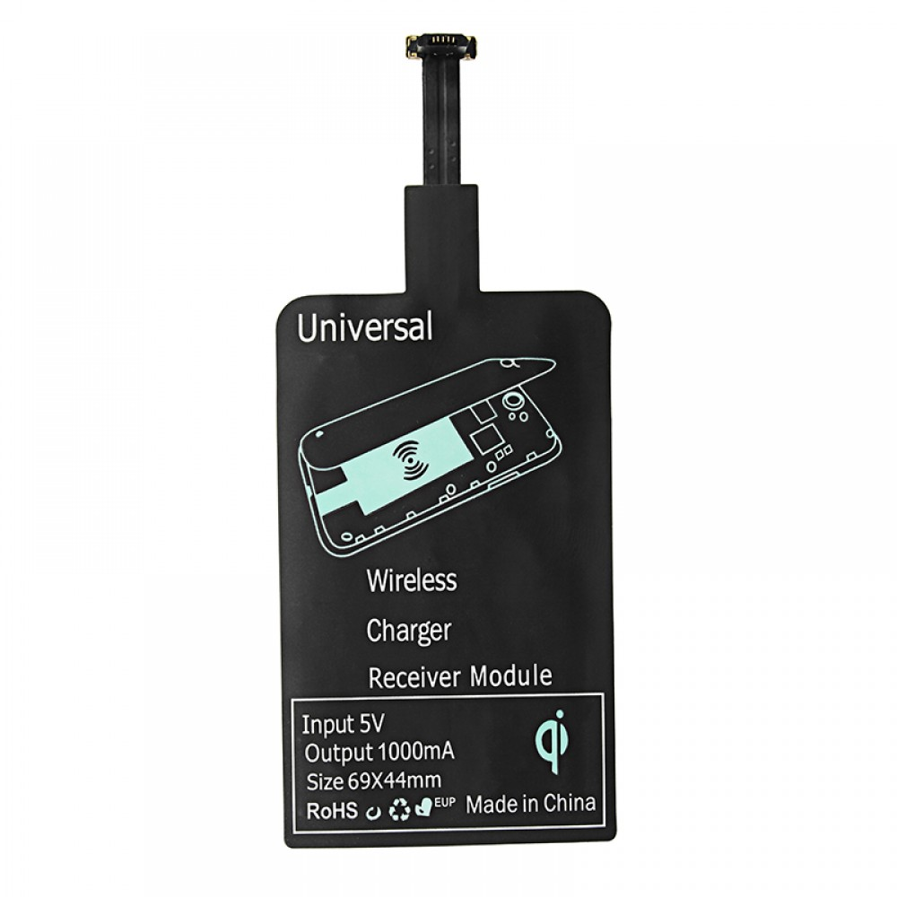 OEM Wireless Receiver, Qi, 5V / 1.0A, Micro USB, Black - 14933