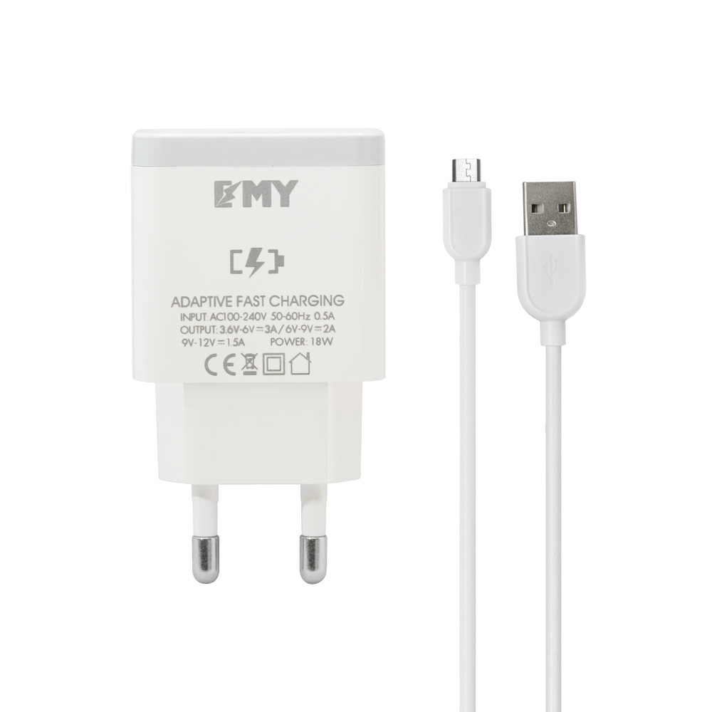 EMY MY-A301Q,Network charger  Quick Charge 3.0, Micro USB Cable, White - 14959