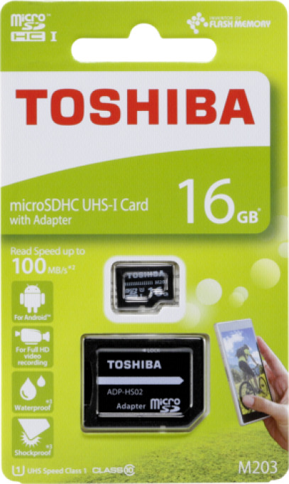 TOSHIBA THN-M203K0160EA TOS MICROSDHC M203 16GB CLASS10 UHS I U1 WITH ADAPTER