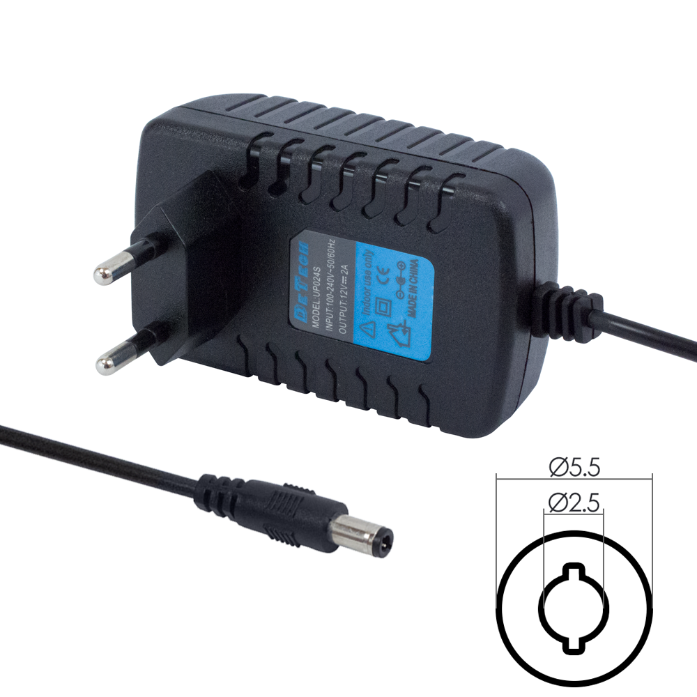 DeTech Laptop Adapter 12V/ 2A 5.5*2.5 - 202