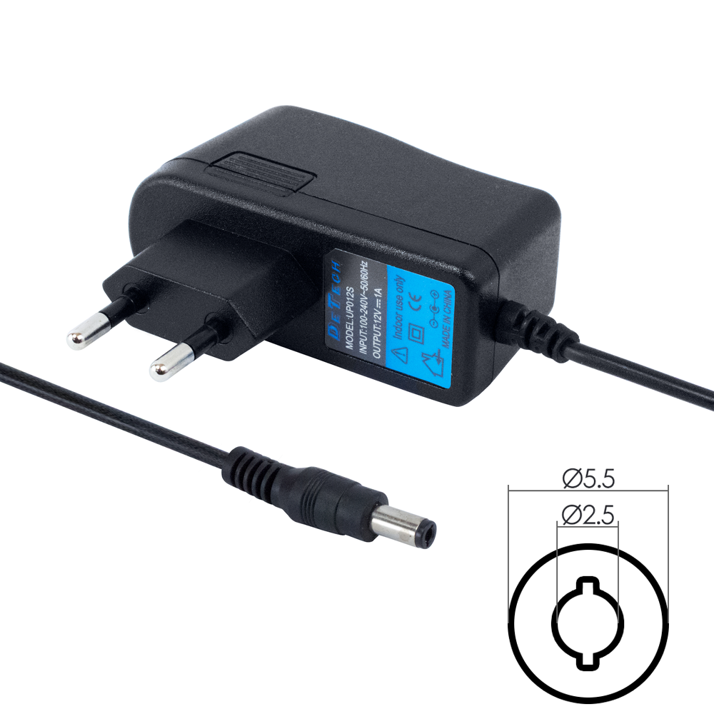 DeTech Laptop Adapter 12V/ 1A 5.5*2.5 - 207