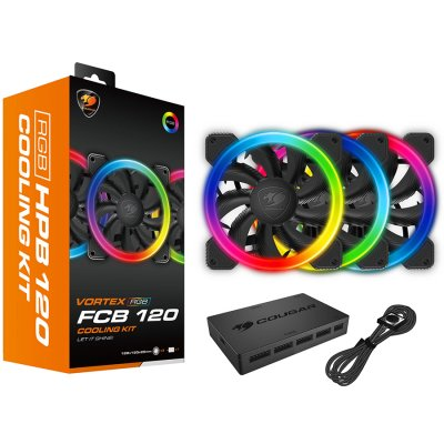 COUGAR VORTEX RGB FCB 120 CG3MFCBKIT0001 Cooling Kit, Hydraulic-Bearing, 1200 R.P.M, Air Flow