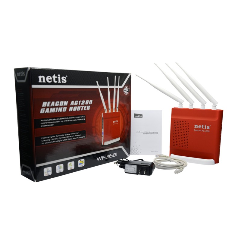 NETIS WF-2681 WIRELESS ROUTER 1200MBPS 4X5DBI FIXED ANTENNA DUAL BAND GIGABYTE BEACON GAMING