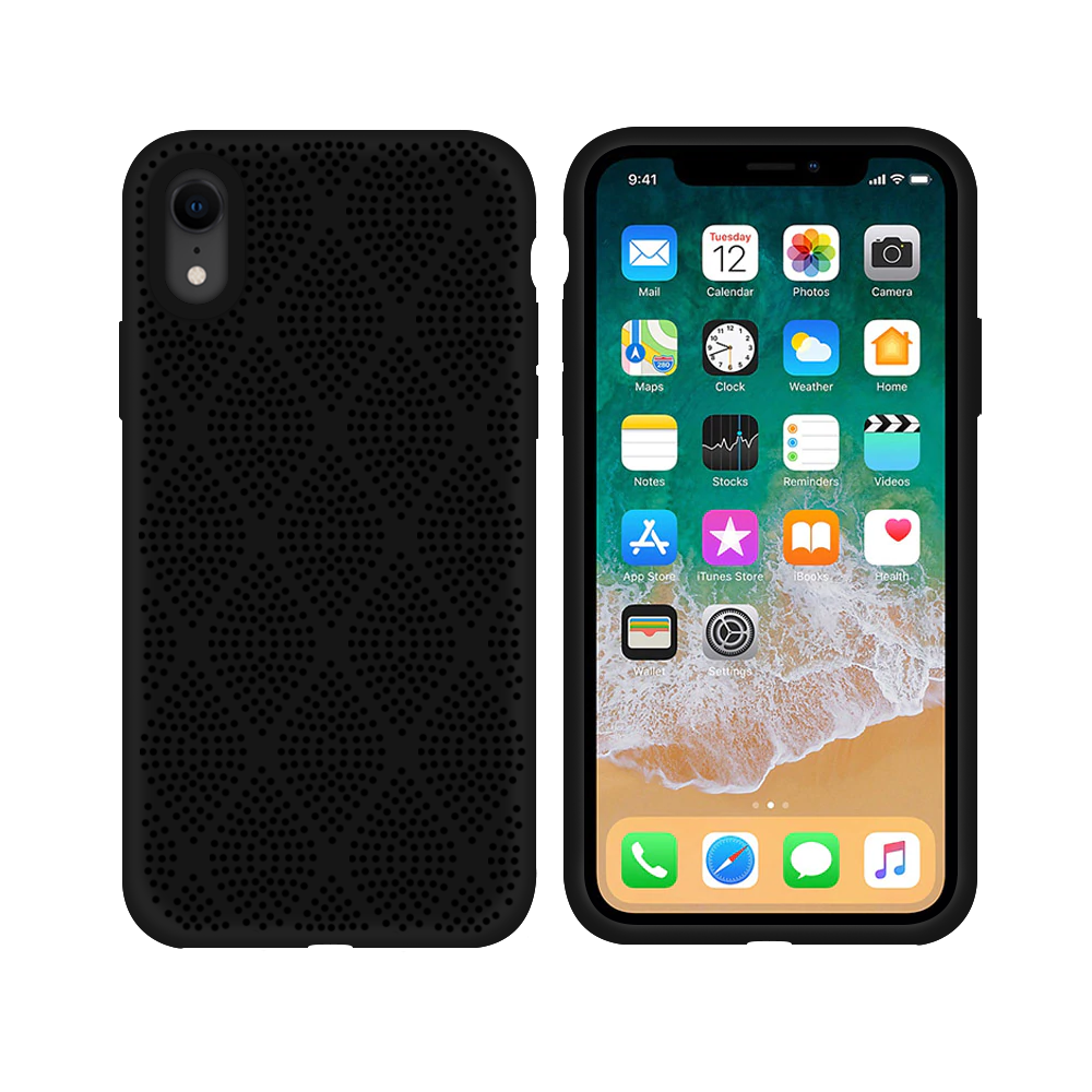 OEM Silicone case For Apple iPhone XR, Grid, Black - 51637