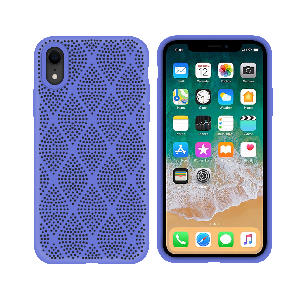 OEM Silicone case For Apple iPhone XR, Grid, Purple - 51639