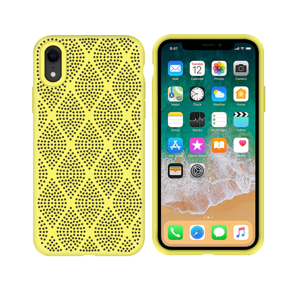 OEM Silicone case For Apple iPhone XR, Grid, Yellow - 51640