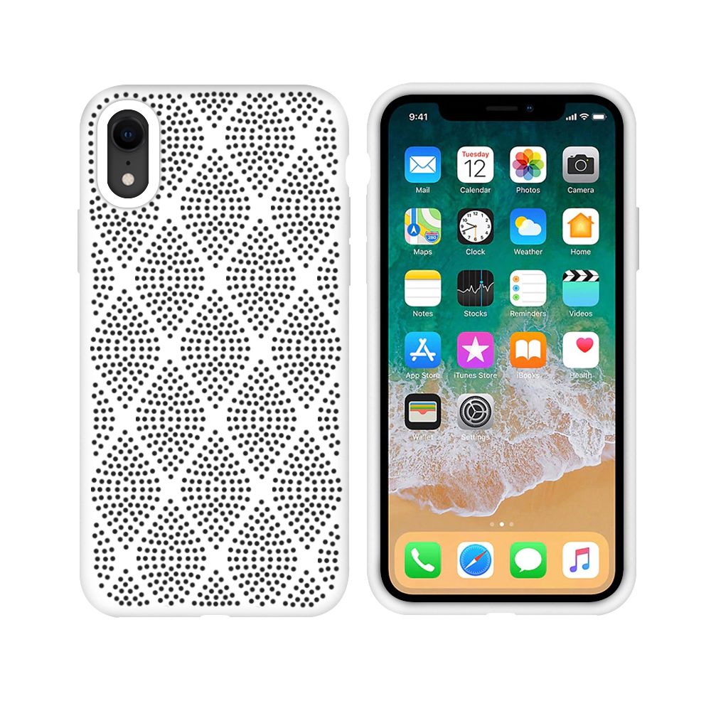 OEM Silicone case For Apple iPhone XR, Grid, White - 51641