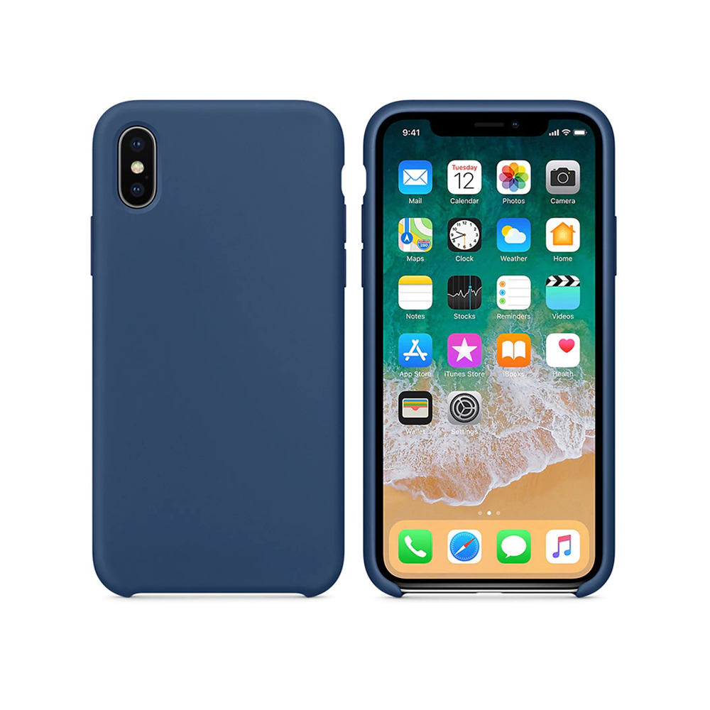 OEM Silicone case For Apple iPhone X/XS, Soft touch, Blue - 51646