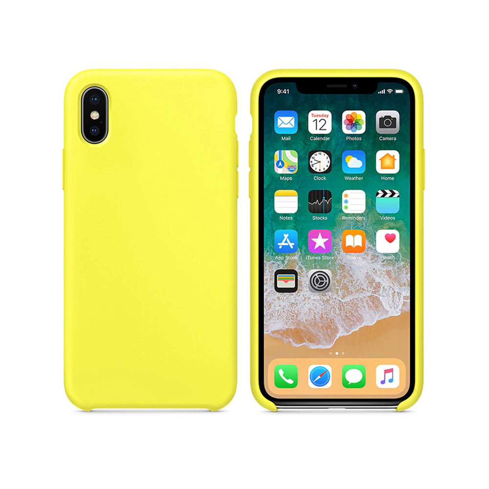 OEM Silicone case For Apple iPhone X/XS, Soft touch, Yellow - 51647