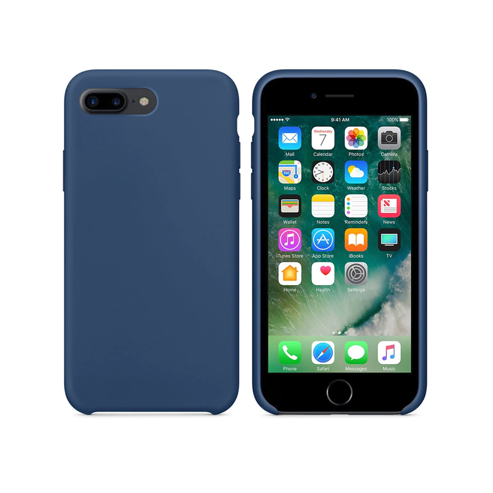 OEM Silicone case For Apple iPhone 7/8 Plus, Soft touch, Blue - 51666
