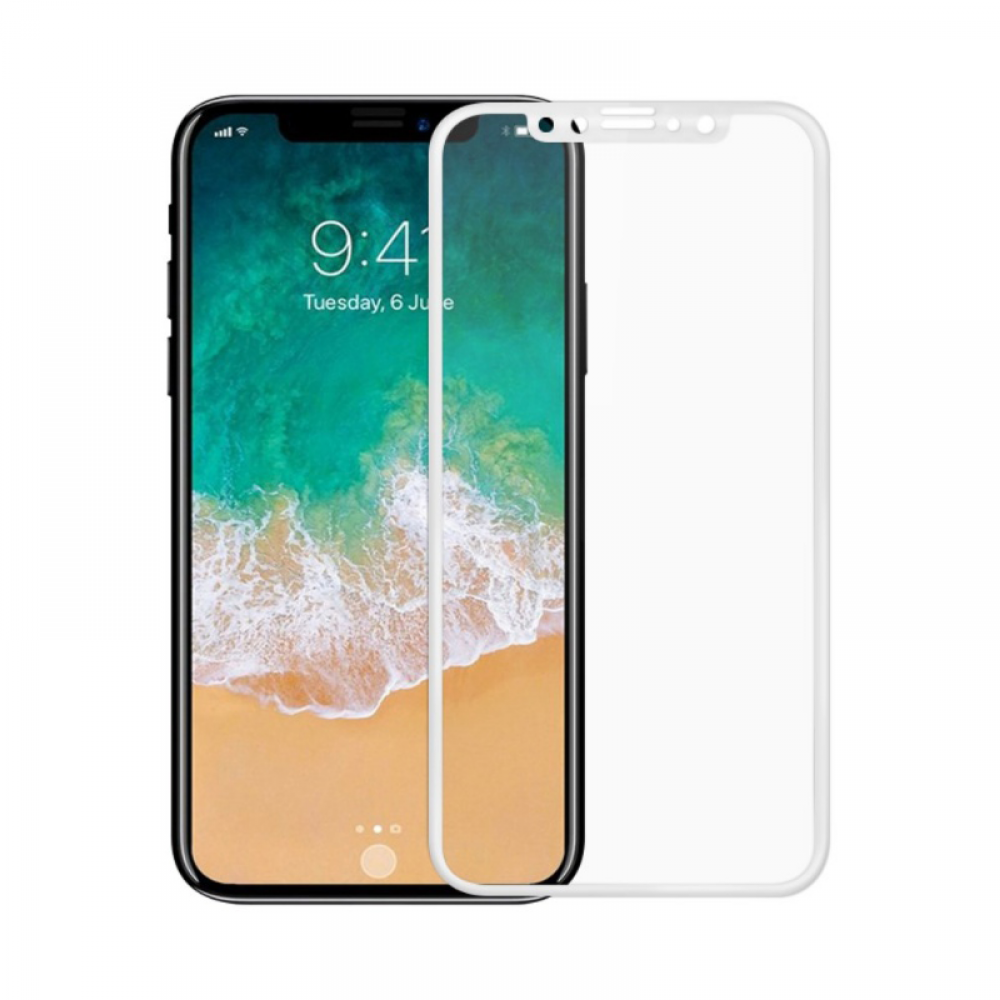 OEM Glass protector Full 2.5D For iPhone X, 0.3mm, White - 52372