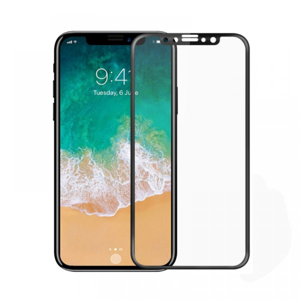 Mocoson Screen protector Polymer Nano Ceramic, Matte, Full 5D, For iPhone X, 0.3mm, Black - 52614