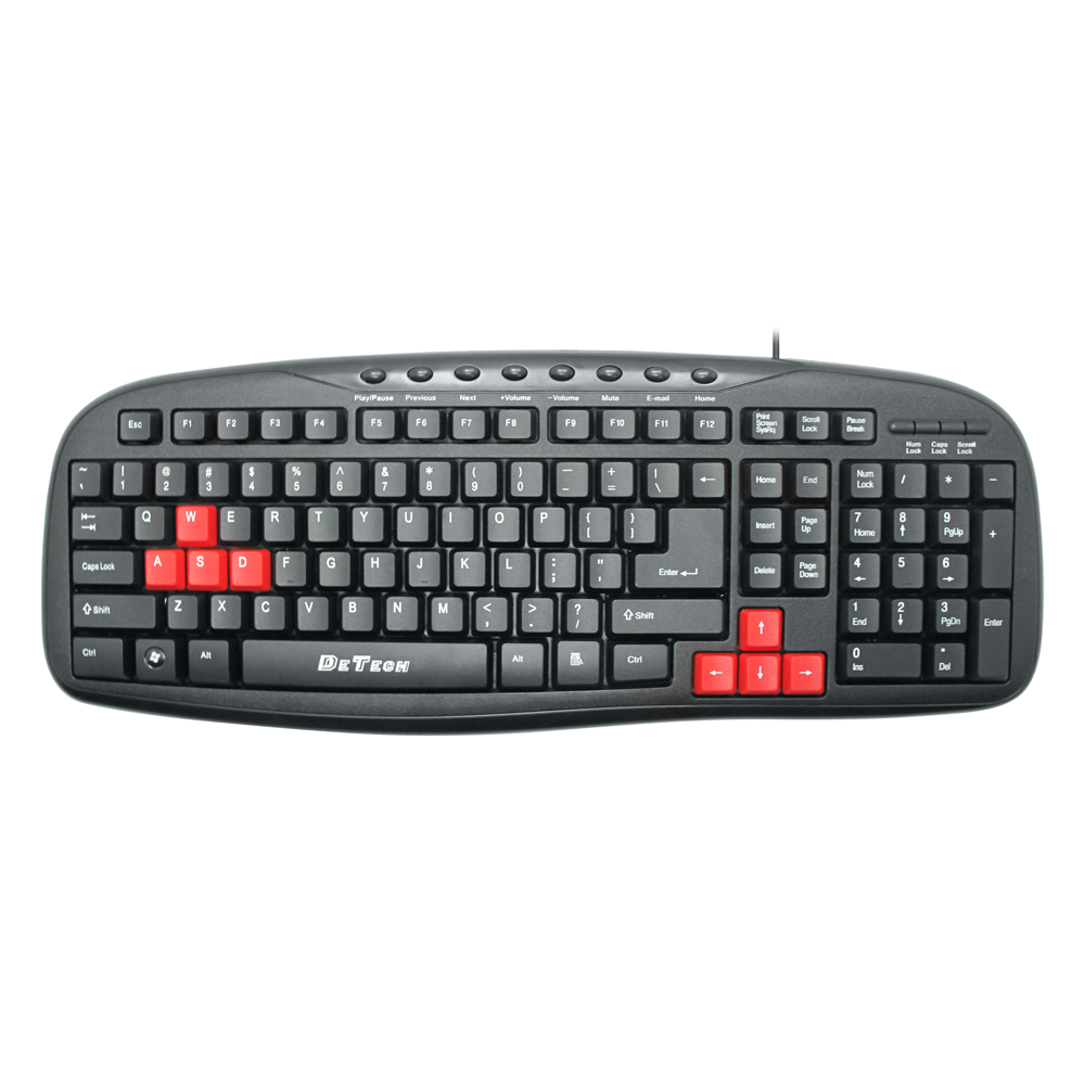 DeTech DE6090,Multimedia keyboard USB, Black - 6090