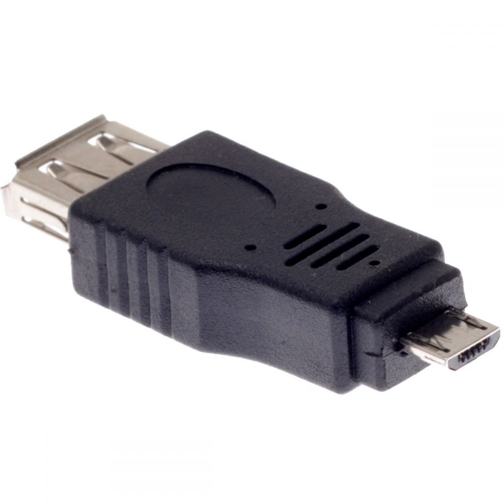 DeTech Adapter USB AF to Micro USB 5P M, Black - 17136