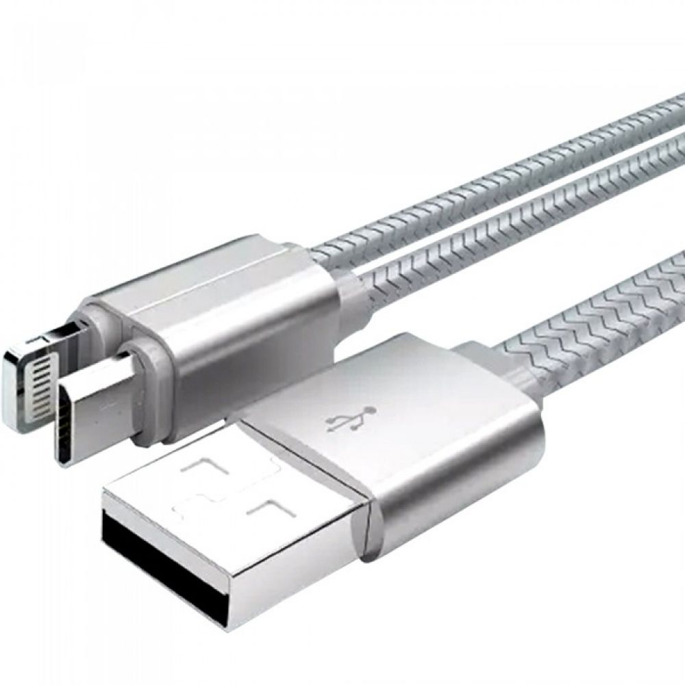 LDNIO LC86, 2in1,Data cable Micro USB + Lightning (iPhone 5/6/7/SE), 1.0m, Silver, Gold - 14388