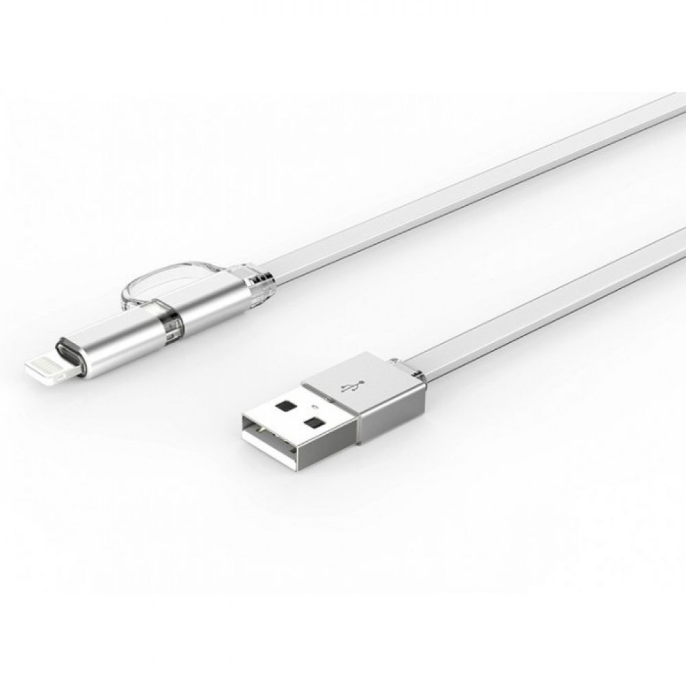 LDNIO LC84,Data cable 2in1, Micro USB + Lightning (iPhone 5/6/7/SE), 1.0m, White - 14389