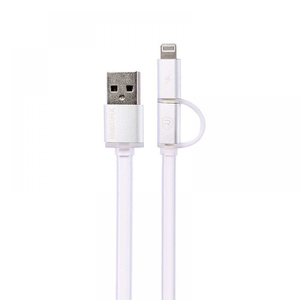 Remax Aurora,Data cable, 2 in 1,  Micro USB / iPhone 5/6/7 Lightning, White - 14431