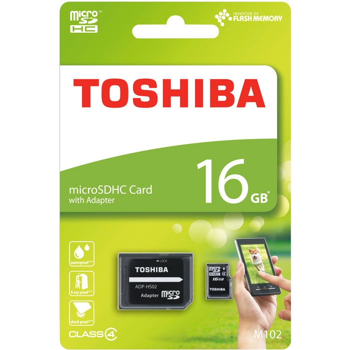 TOSHIBA MICROSD 16GB M102 CLASS 4 WITH ADAPTER ΤΗΝ-Μ102Κ0160Μ2