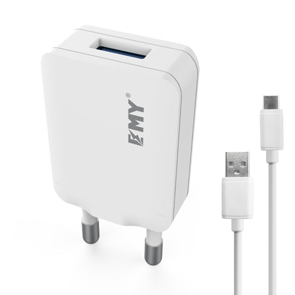 EMY MY-223, 5V 1.0A, Universal Network charger,1xUSB, With USB Type-C Cable, White - 14839