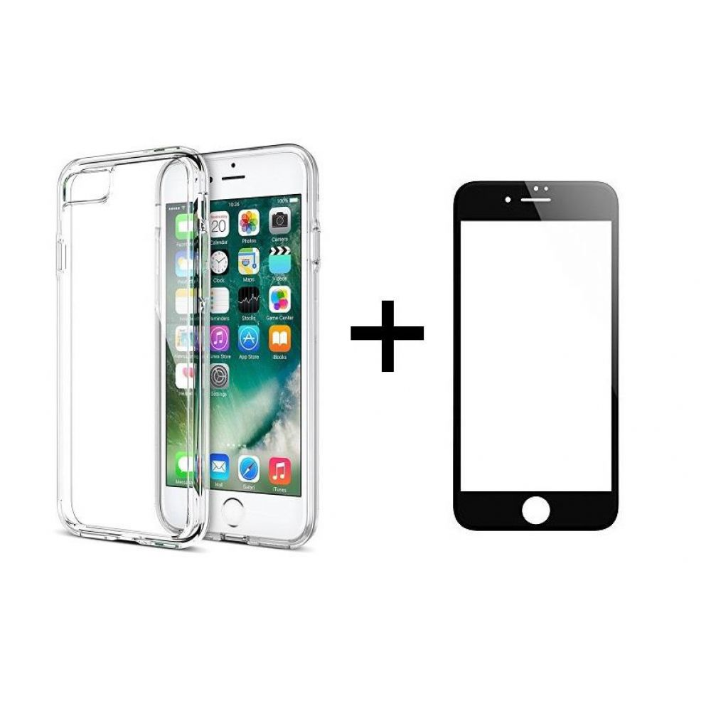 Remax Crystal,Glass protector with soft edges + Case, for iPhone 7/8, Black - 52225