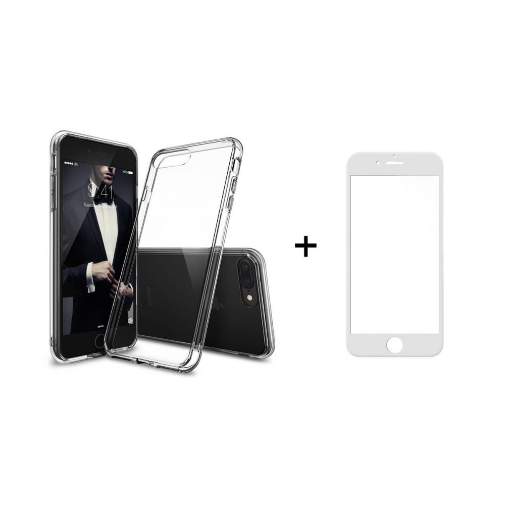 Remax Crystal,Glass protector with soft edges + Case, for iPhone 7/8 Plus, White - 52228
