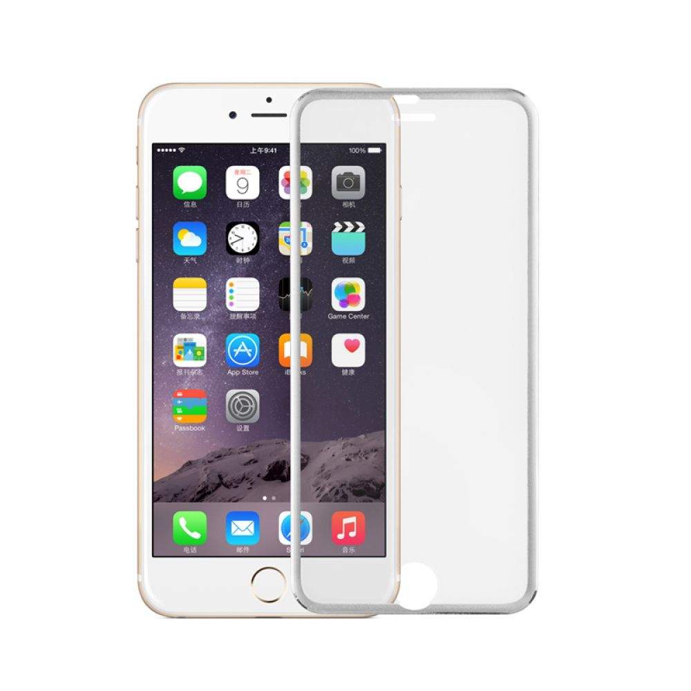 OEM Glass protector Tempered Glass for iPhone 6/6S Plus, 0.3mm, With metal strip, Silver- 52204