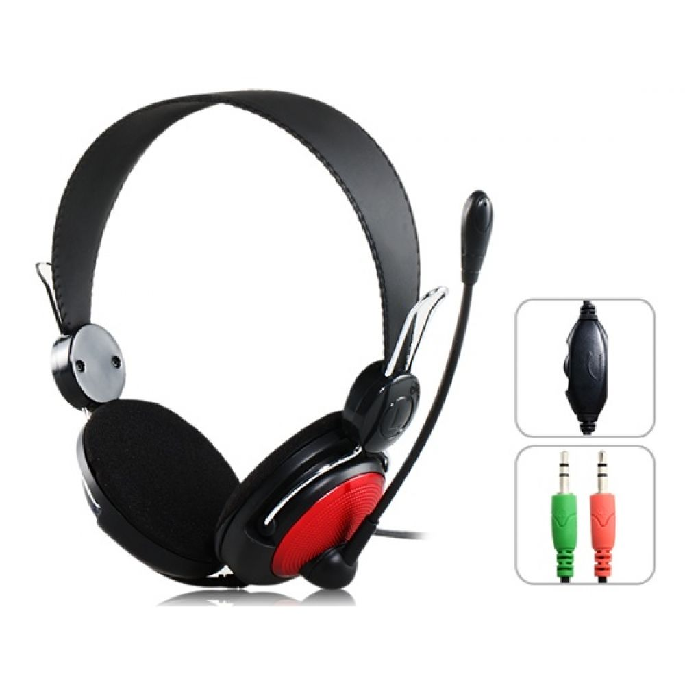 Ovleng V 2 Headsets for computer with microphone, Black - 20218