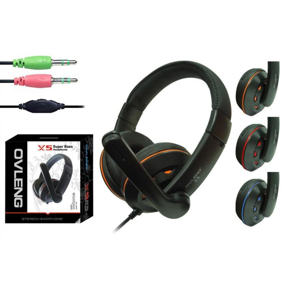 Ovleng X-5  Headsets For computer with microphone, Black - 20223