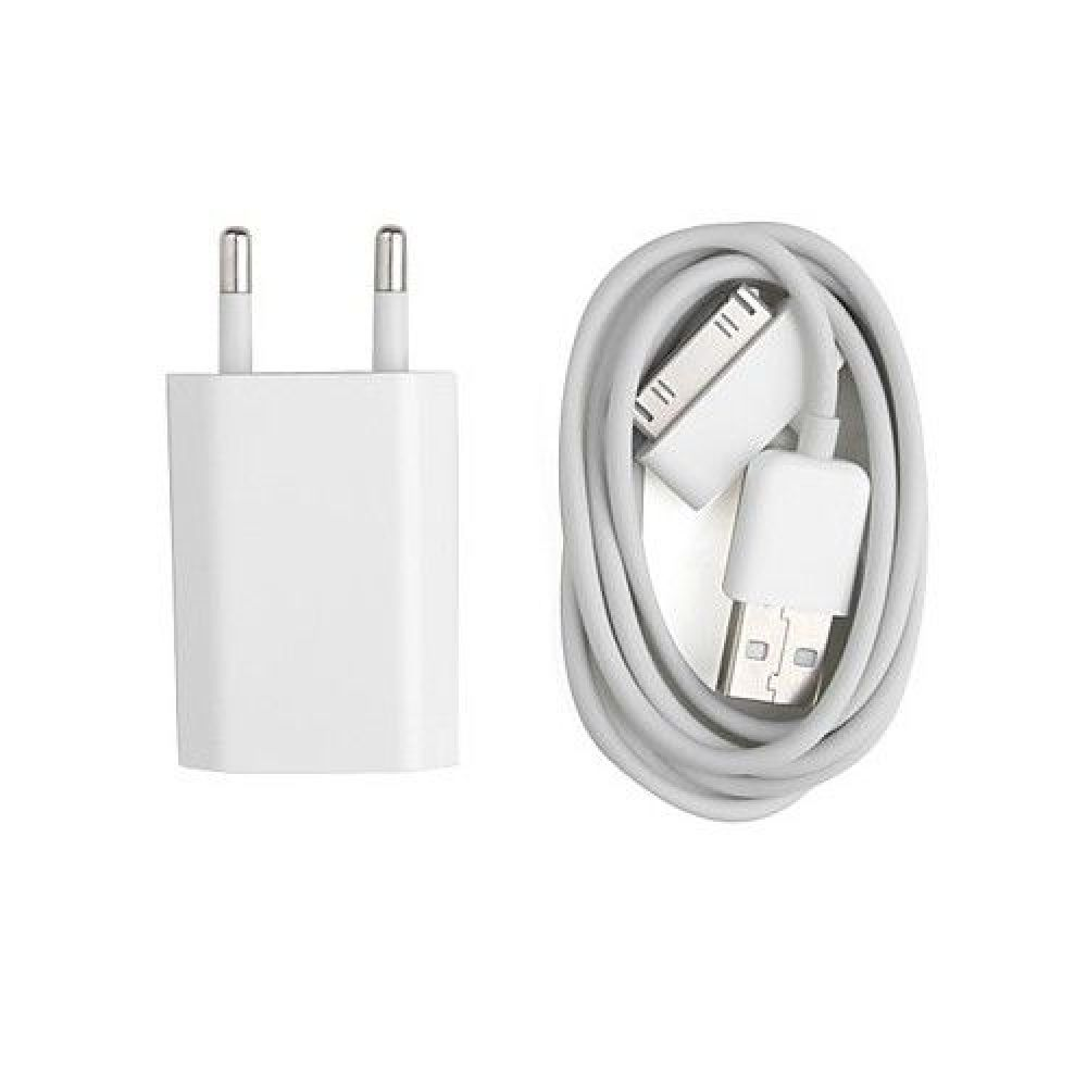OEM Iphone 4/4S, USB adapter Travel Network charger 5V/1A 220A, Data cable - 14018
