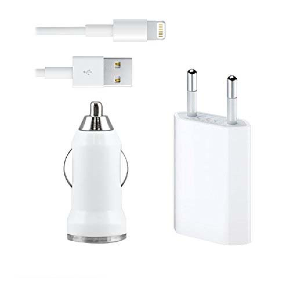 OEM Iphone 5/5S/5C/6/6S ,Set car charger and network charger Travel 12/220v with cable - 14264
