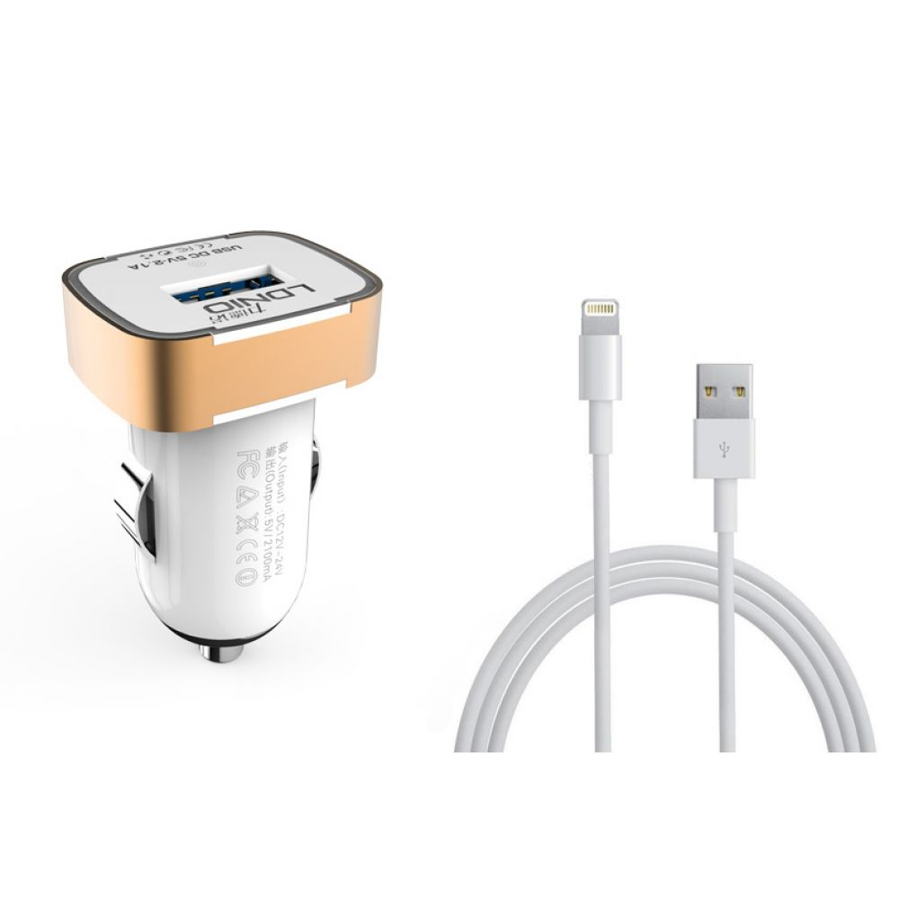 LDNIO DL-C211, 5V/2.1A, Car socket charger Universal,1xUSB,With cable for iPhone 5/6/7SE,W/B,14385