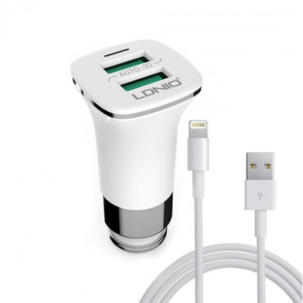 LDNIO C301, 5V/3.6A, Car socket charger Universal,2xUSB, With cable for iPhone 5/6/7SE,White-14375