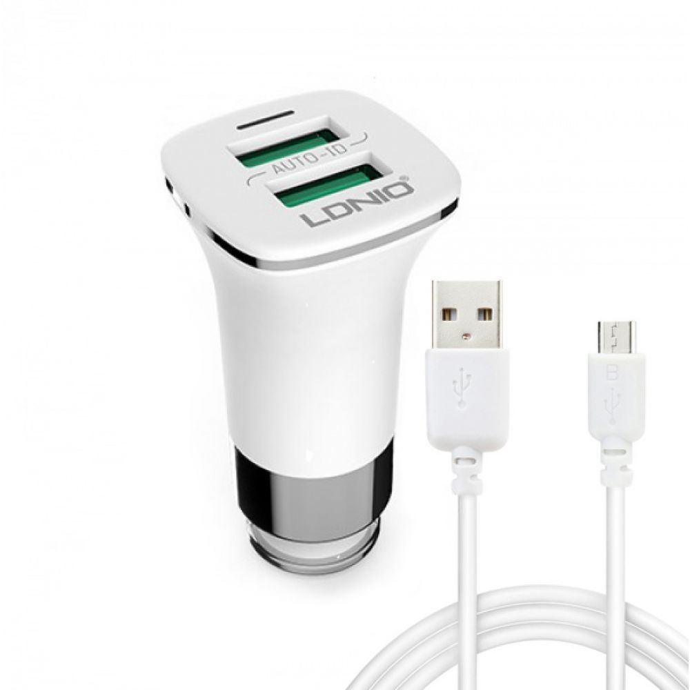 LDNIO C301,5V/3.6A,Car socket chargerUniversal,2xUSB,With Micro USB cable,White-14374