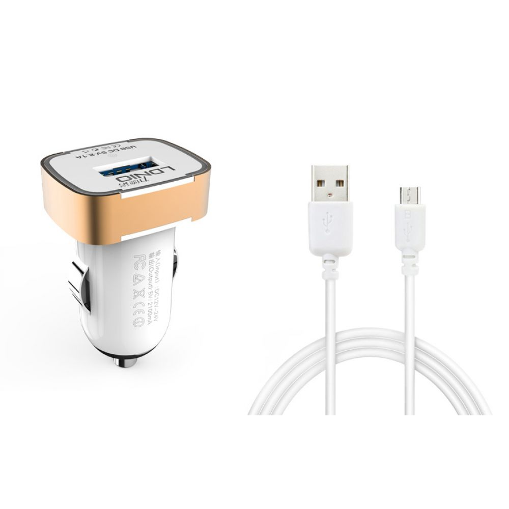 LDNIO DL-C211,5V/2.1A,Car socket charger Universal,1xUSB,With Micro USB cable,White,Black-14384