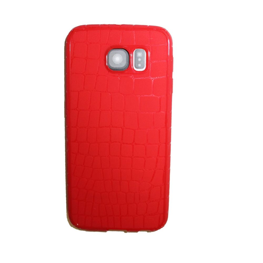 OEM Protector for Samsung S6 Edge, With imitation of snakeskin (Croco), Silicone, Red - 51354