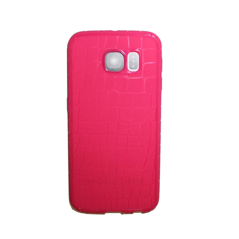 OEM Protector for Samsung S6 Edge, With imitatio of snakeskin (Croco), Silicone, Pink - 51357