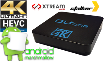 QU+ ONE 4k HEVC Multimedia Player Stalker Middleware KODI Xtream Code Android 6.0 ( 4IN1)
