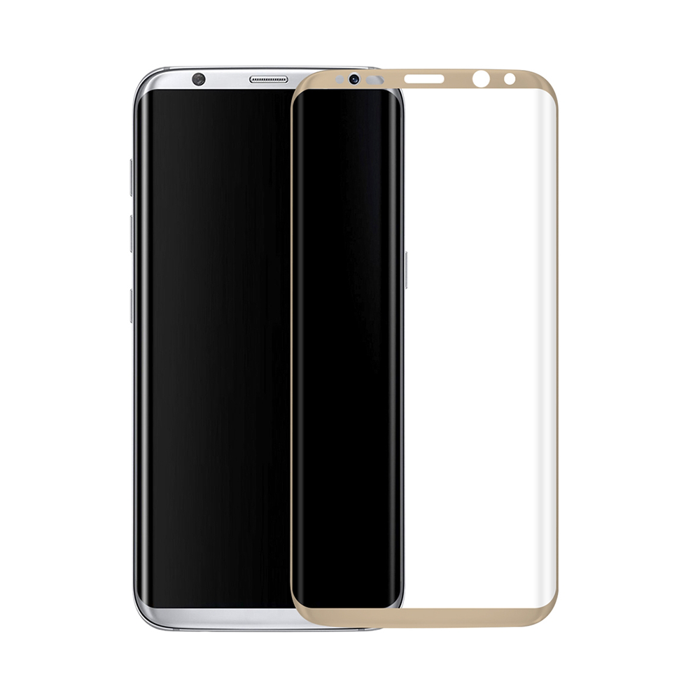 OEM Fullscreen Glass protector, For Samsung Galaxy S8 Plus, 0.3mm, Gold - 52295