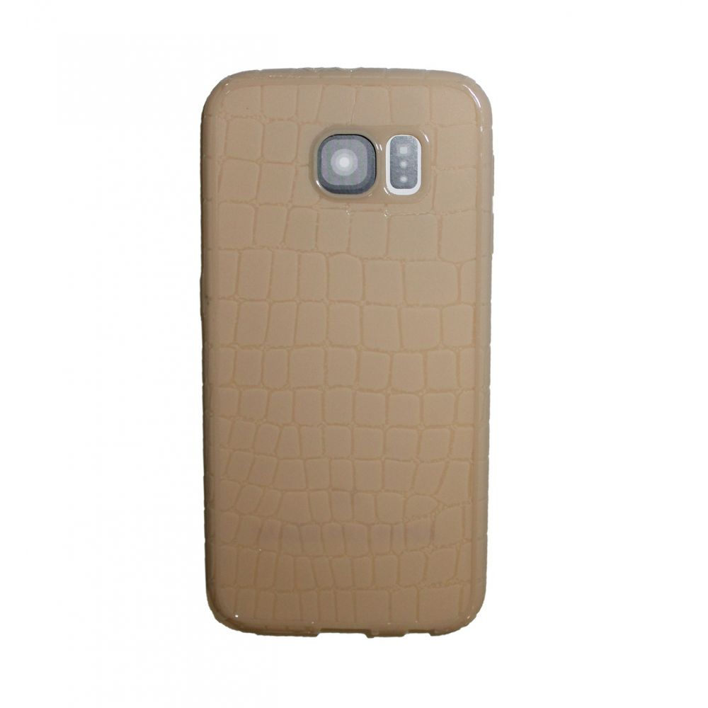 OEM Protector for Samsung S6, With imitation of snakeskin (Croco), Silicone, Beige - 51351