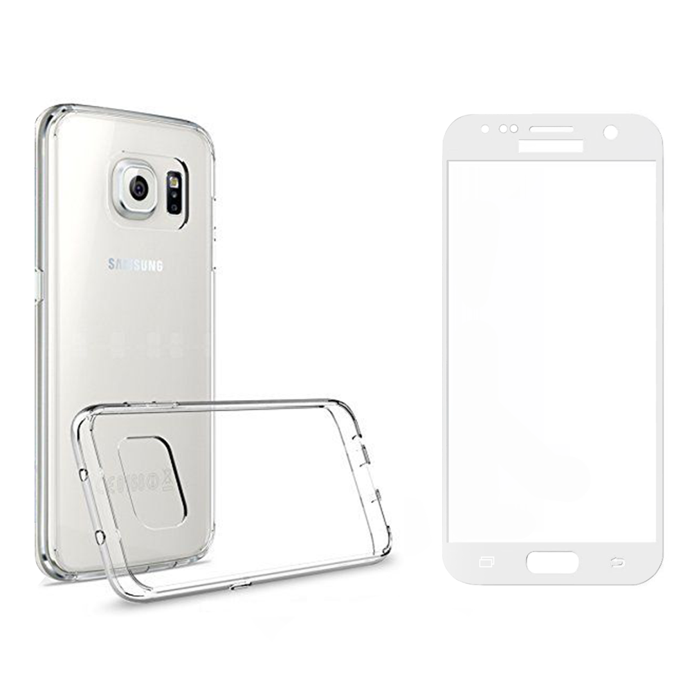 Remax Crystal Glass protector with soft edges + Case,for Samsung Galaxy S7, White - 52239