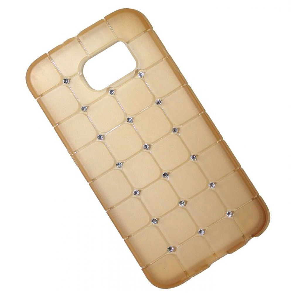 OEM Protector for Samsung S6, With crystals, Silicone, Gold - 51342