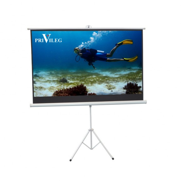 "PRIVILEG TRW200 Manual Projection Screen COMPACT 90"", 2.00x1.13m, 16:9, Tripod"