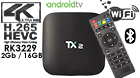 TX2 Android TV Box RK3229 Quad Core 2GB DDR3 RAM 16GB ROM Android 6.0 2.4G WiFi
