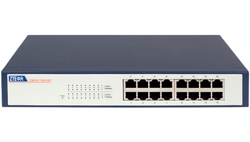 ZTE ZXR10-1160-16T, 16-Port 10/100/1000Mbps, Unmanaged Switch, Rackmount